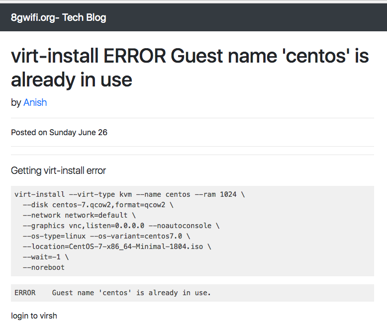 virt-install ERROR Guest name 'centos' is already in use