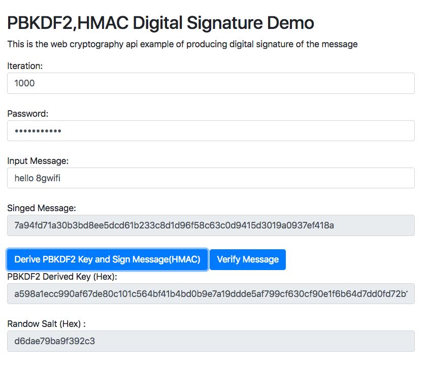 Web Crypto API Digital Signature Using PBKDF2 and HMAC