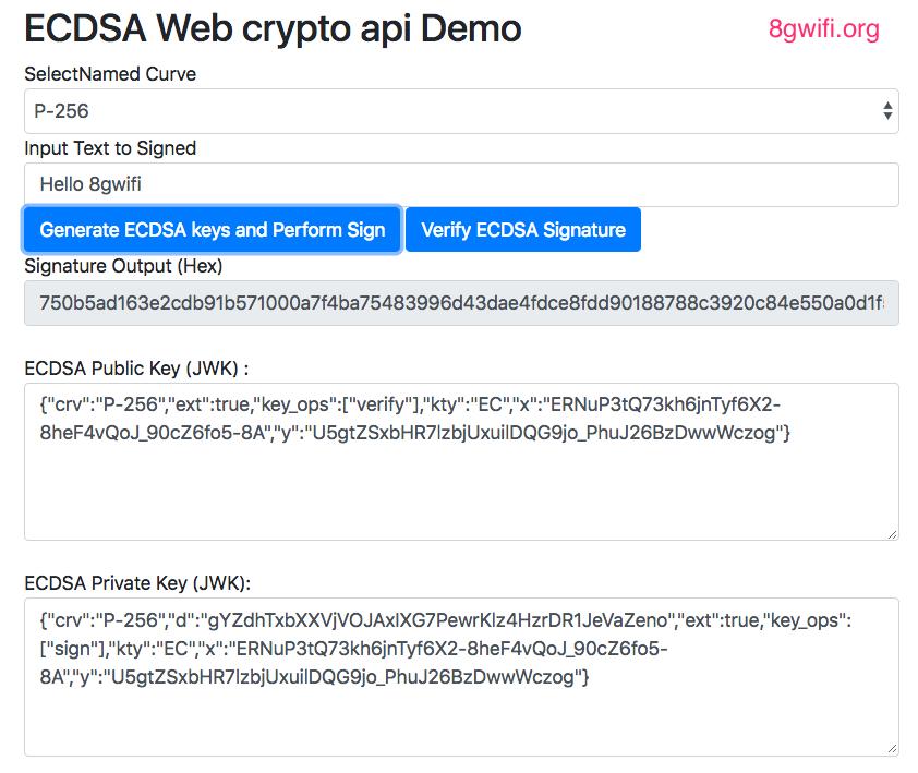 Web Crypto API Generate ECDSA Public Private Keys and