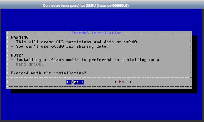 freenas installation in openstack