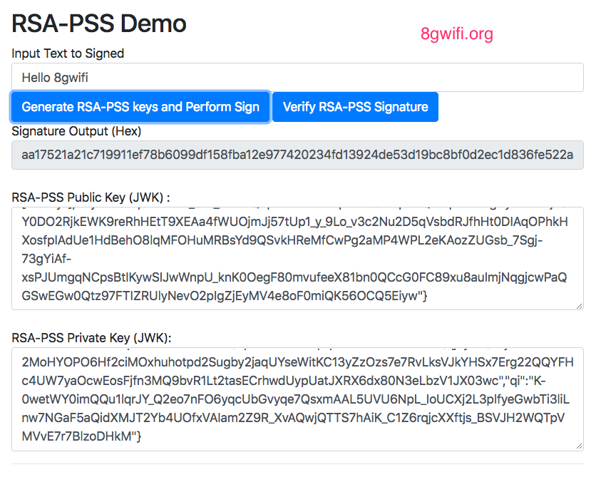 Web Crypto API RSA-PSS Generate Keys and Perform sign/verify
