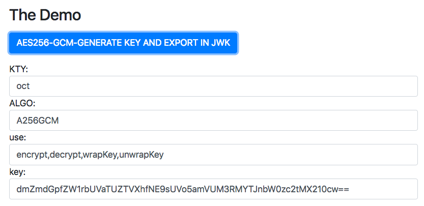Web Crypto Export aes cbc,gcm ctr Keys with JWK format