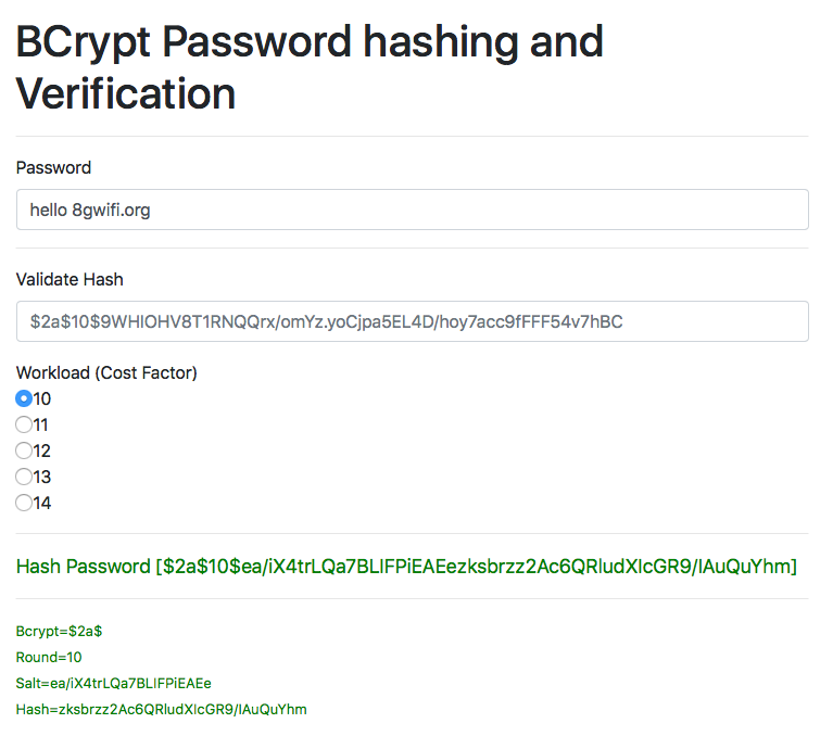 BCCrypt Hash Generator, Hash Checker