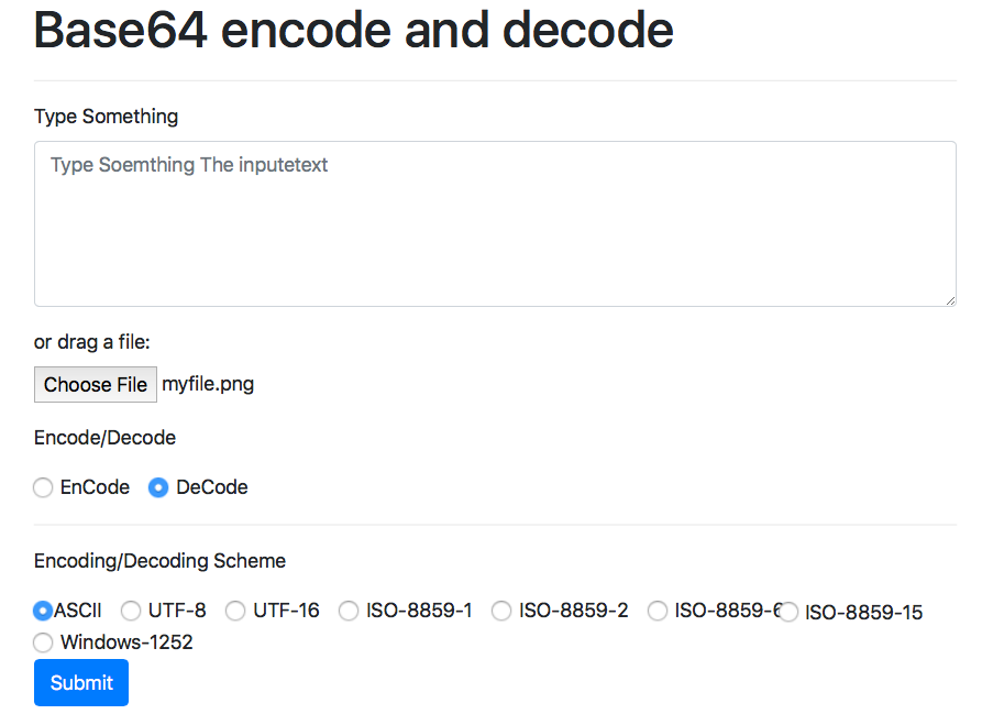 Online Base64 encode and decode a string or a file