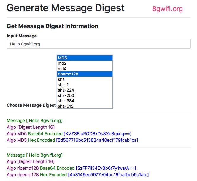 Online Message Digest Algorithms checker and verifier