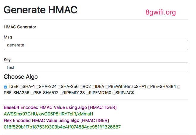 Online HMAC Generator Hash based Message Authentication