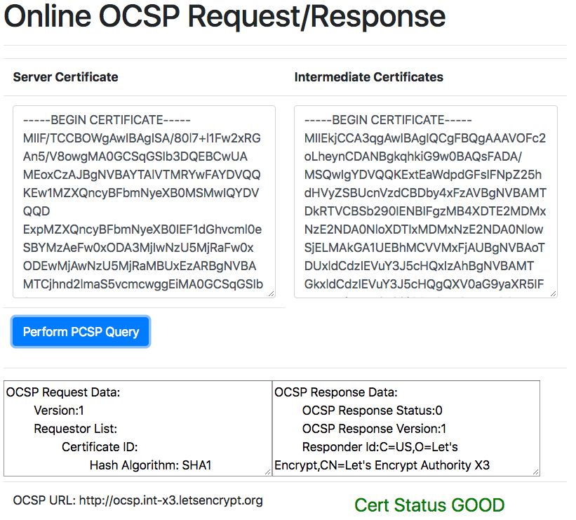 Online OCSP tester Check revocation status of your SSL certificate