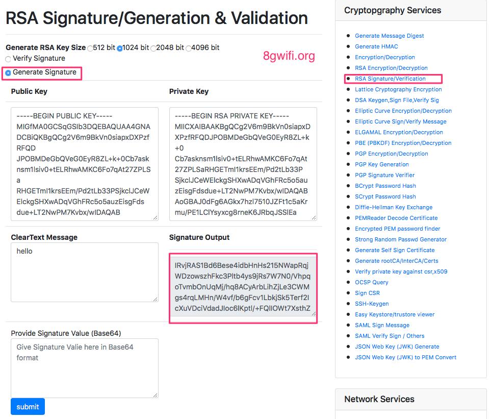 RSA Signature generation and verification tool with RSASSA-PSS