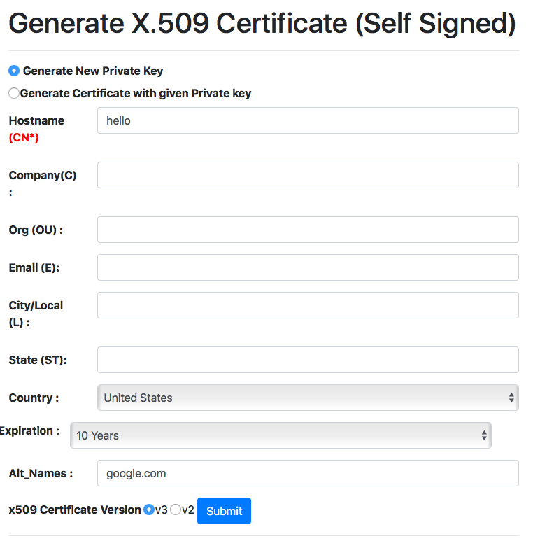 Online Self Signed Certificate Generate With Altname And Expiry Support